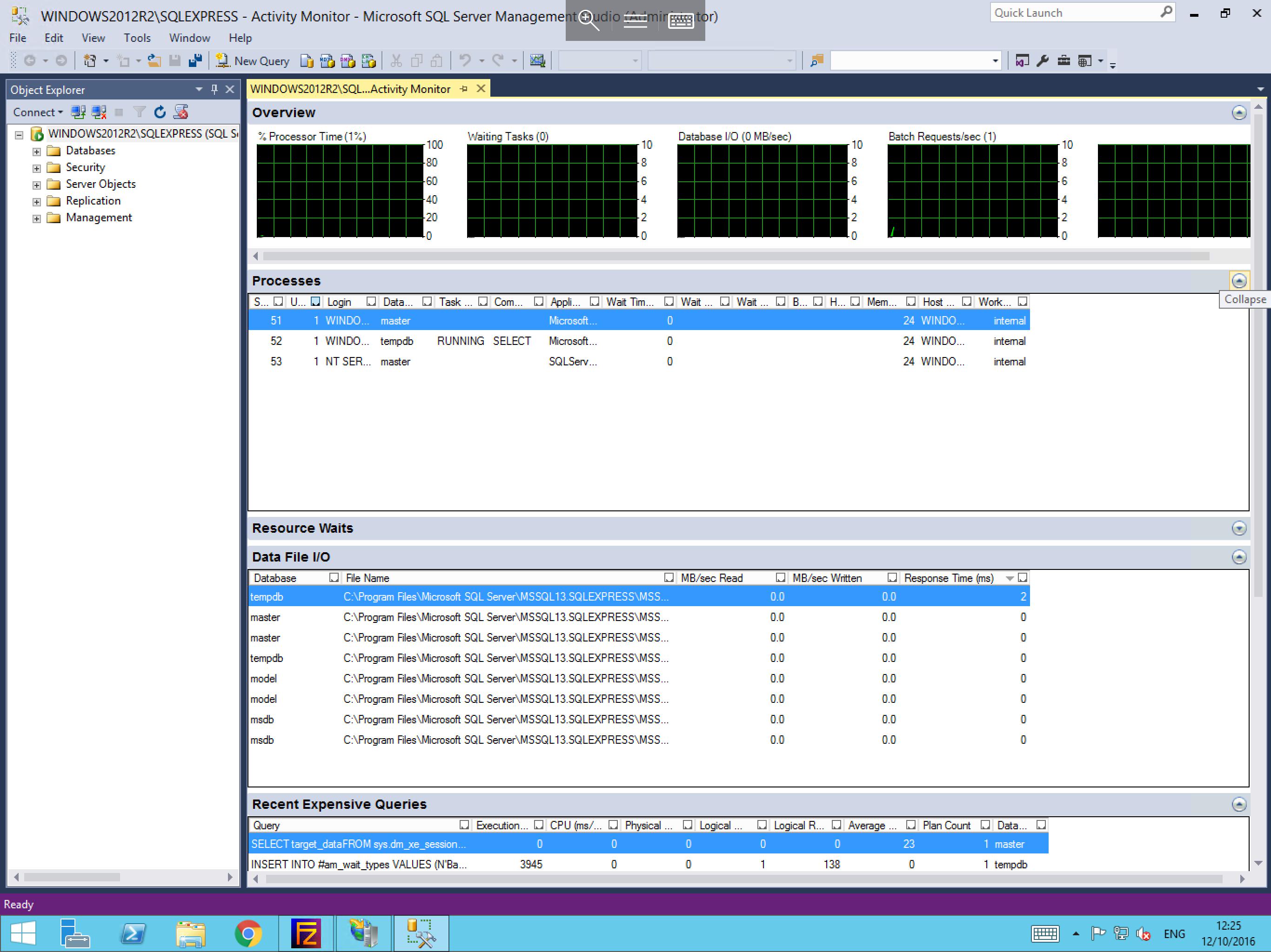 viewing microsoft sql activity monitor